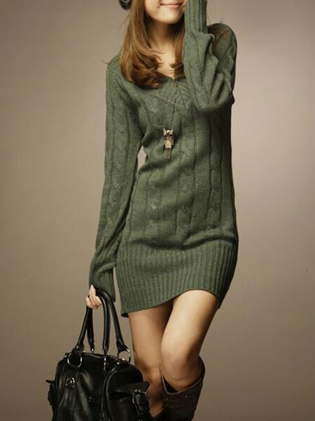 Women Casual Dress V neck Daytime Knitted Cable Dress