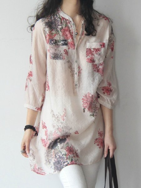3/4 Sleeve Stand Collar Printed Buttoned Tunic Top