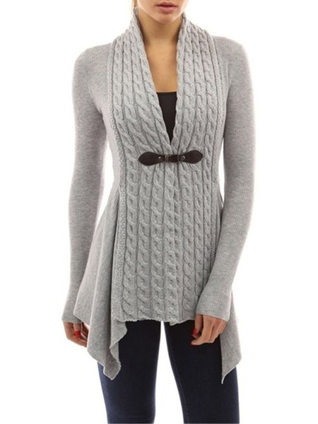 Buttoned Long Sleeve Plain Knitted Cardigan