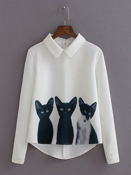 White Long Sleeve Shirt Collar Printed Blouse