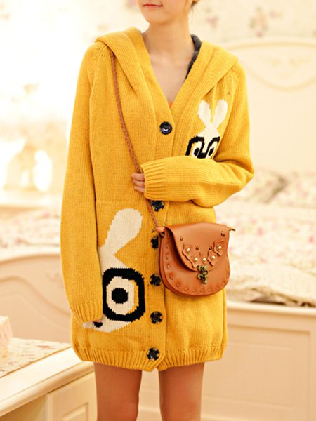 Cute H-line Intarsia Knitted Fleece-lined Cardigan