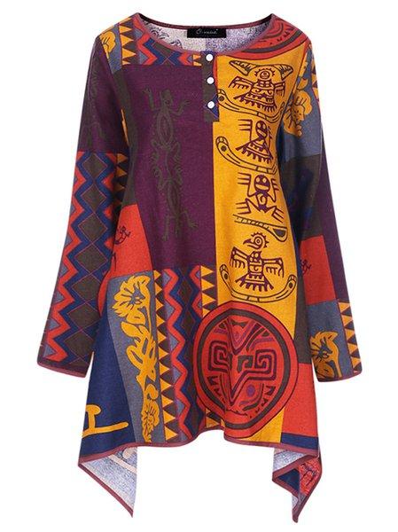 Multicolor Asymmetrical Vintage Crew Neck T-Shirt