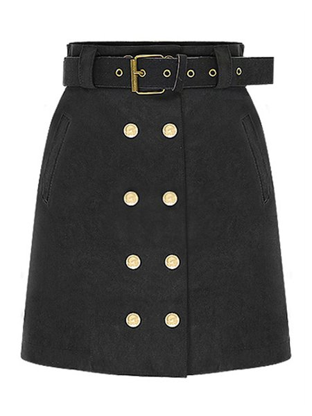 Faux Suede Pockets Buttoned Casual Skirt