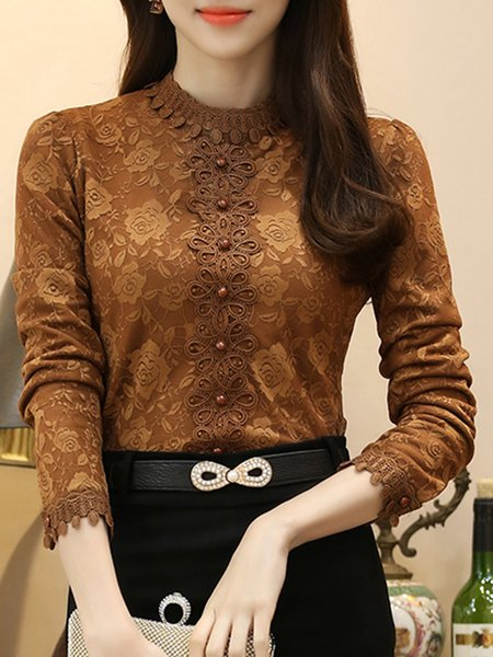 Elegant Stand Collar Guipure lace T-Shirt