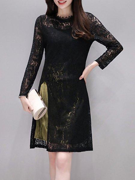 Paneled Sheath Long Sleeve Elegant Guipure Lace Dress