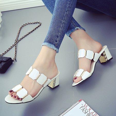 Paillette Women's Chunky Heel Sandals