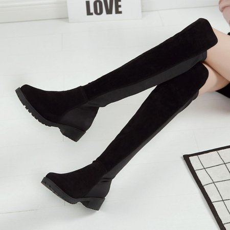 Black Slip-On Suede Knee-High Women's Plus Size Boots