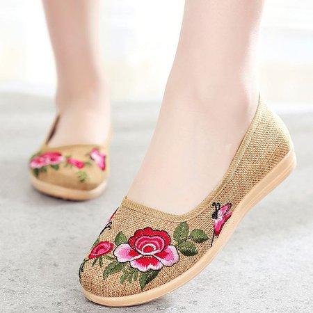 Embroidery Flower Print Women's Slip-On Flats