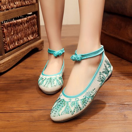 Green Embroidered Buttoned Women's Fabric Slip-On Flats