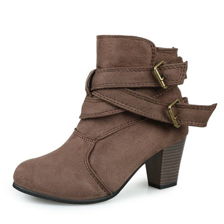 Women's Buckle Strap Ankle Suede Boots