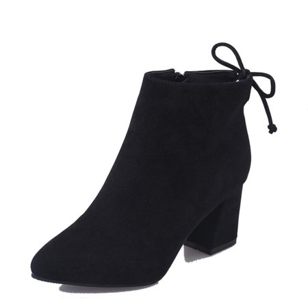 Black Suede Women's Ankle Lace-Up Boots