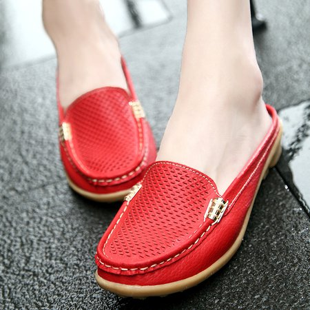 Red Casual Slip-On Women's Slippers