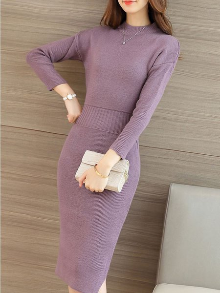 Bodycon Knitted Long Sleeve Solid Casual Dress