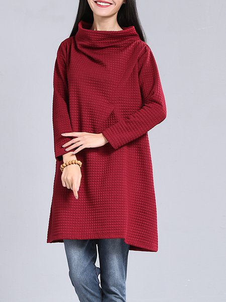 Wine Red Long Sleeve Turtleneck Plain Casual Dress