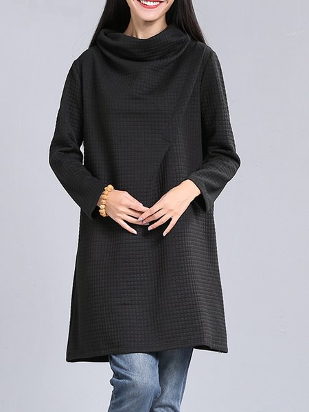 Turtleneck Shift Long Sleeve Plain Casual Dress