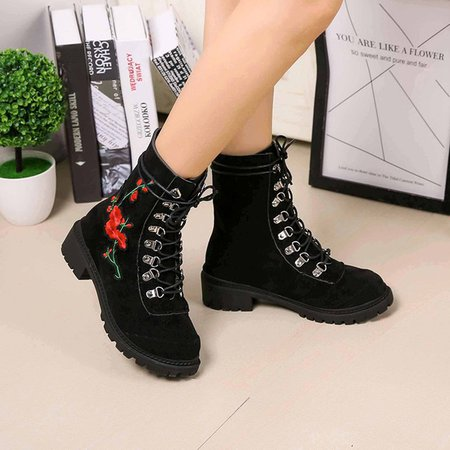 Lace-Up Suede Embroidered Women Boots