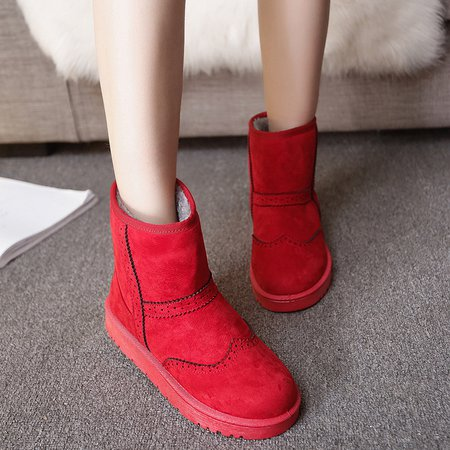 Women Suede Fur Lined Slip On Ski Boots