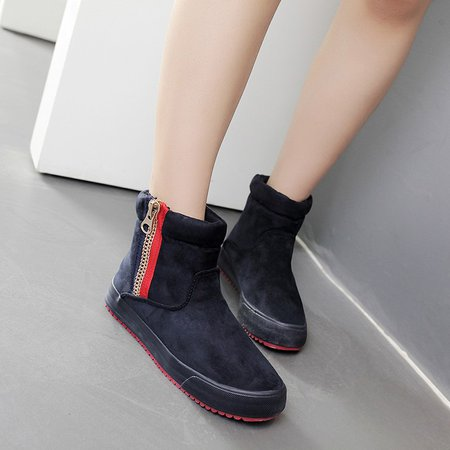 Zipper Women Ankle Platform Ski Boots