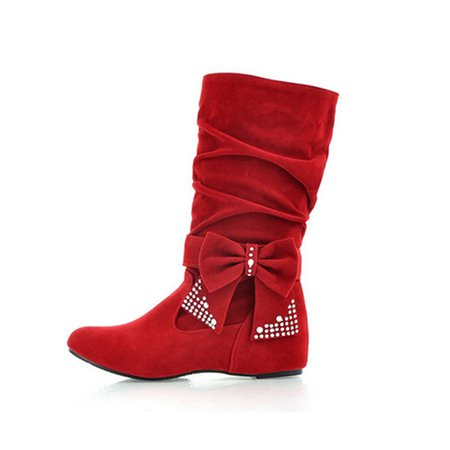 Suede Low Heel Bowknot Casual Boots