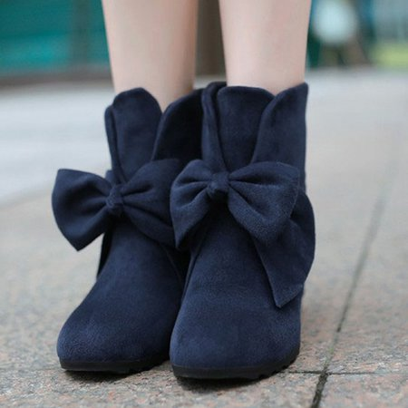 Bowknot Suede Winter Casual Wedge Heel Boots