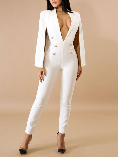 Buttoned Plunging Neck Sexy Solid Jumpsuit