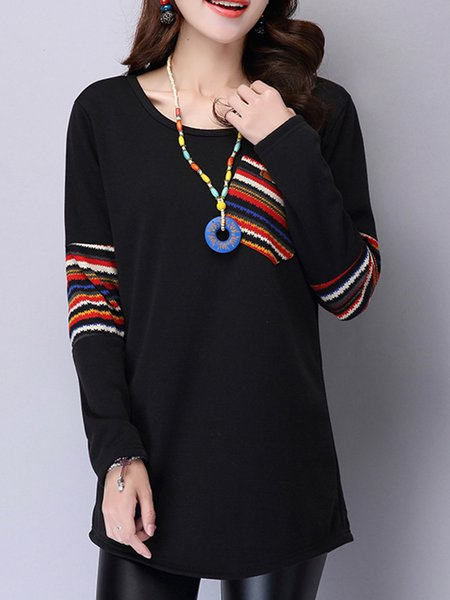 Black Long Sleeve Crew Neck Casual Top