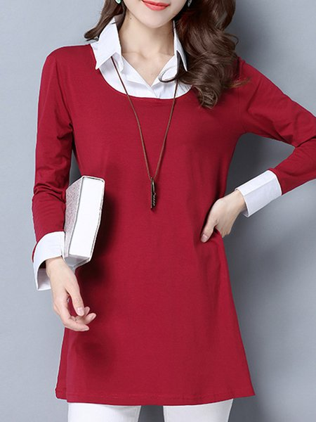 Casual Long Sleeve Printed Shirt Collar Top