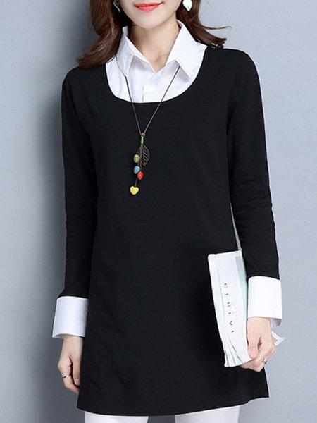 Black Shirt Collar Long Sleeve Casual Top