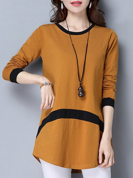 Camel Crew Neck Long Sleeve Casual Top