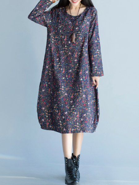 Navy Blue Cocoon Floral Printed Crew Neck Casual Dress