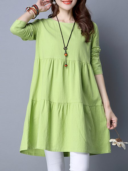 Light Green Ruched A-line Solid Sweet  Dress