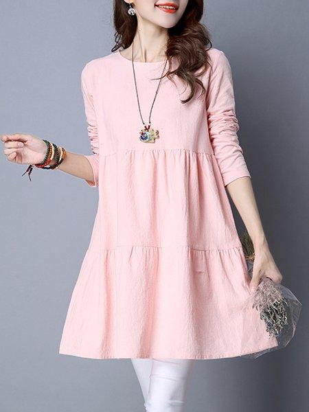 Women Elegant Dress Crew Neck A-line Daily Linen Solid Dress