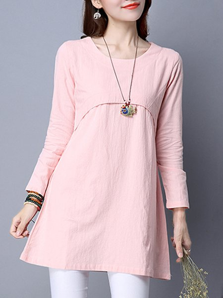 Pink Long Sleeve Paneled Pockets  Dress