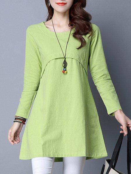 Light green Women Elegant Dress Crew Neck A-line Daily Paneled Solid Dress