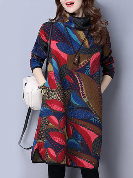Blue Women Print Dress Shift Daily Printed Leaf Dress