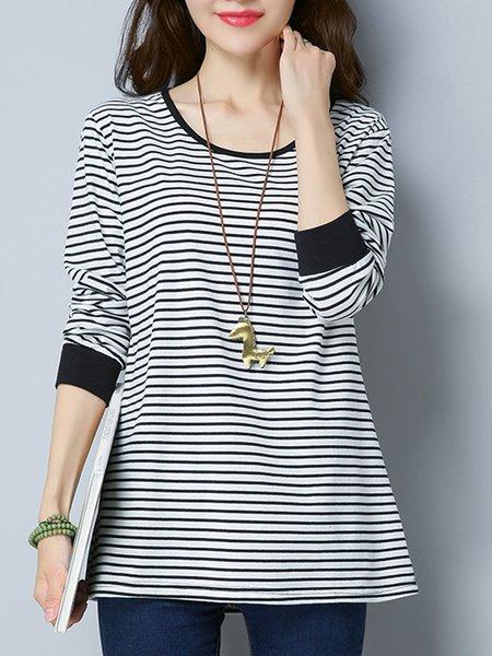 White Long Sleeve Stripes  T-Shirt