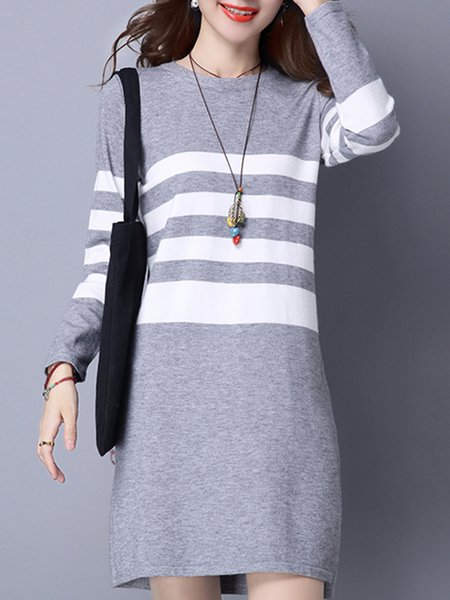 Gray Women Casual Dress Crew Neck Shift Long Sleeve Jersey Dress