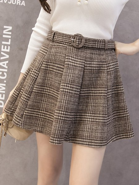 A-line Wool Blend Casual Skirt