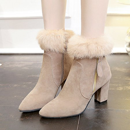 High Heel Zipper Furry Suede Boots