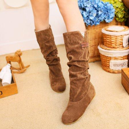 Wedge Heel Dress Suede Mid-calf Boots