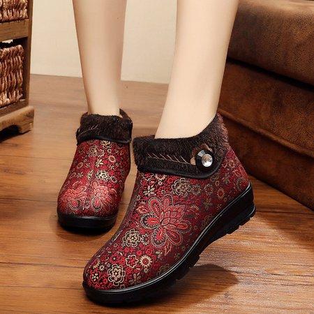 Non Slip Zipper Fleece Lined Wedge Heel Boots