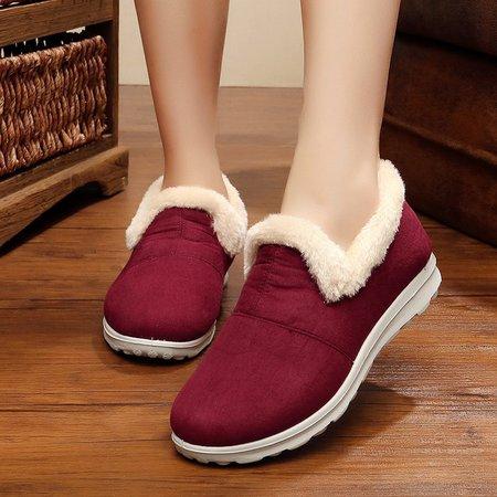 Suede Flat Heel Casual Fleece Lined Snow Boots