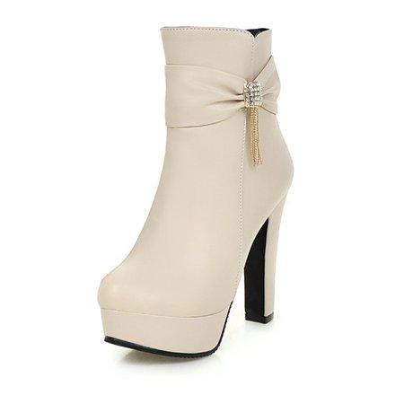 Rhinestone Bowknot Tassel High Heel PU Boots