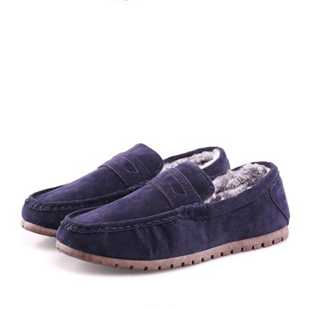 Faux Suede Fleece Lined Slip On Loafers