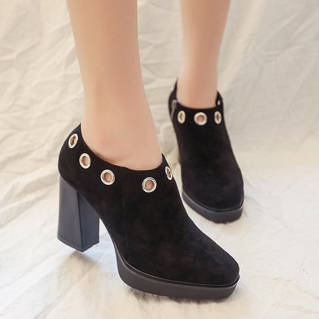 Chunky Heel Zipper Faux Suede Hollow-out Boots