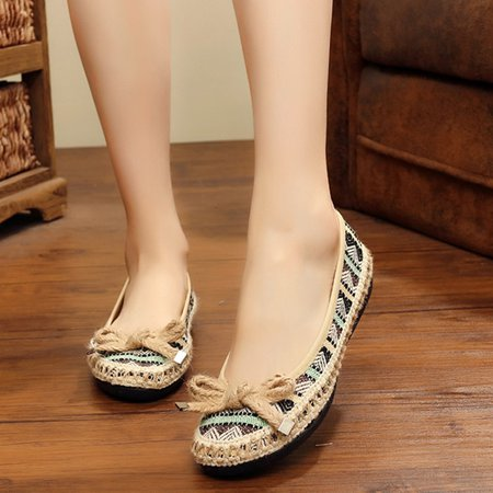 National Wind Casual Bowknot Slip On Flats