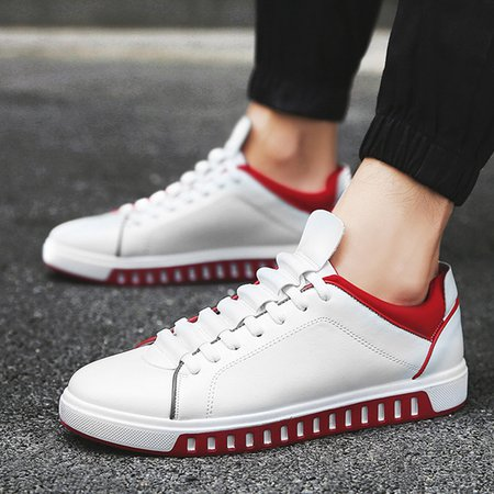 Athletic PU Flat Heel Lace-up Sneakers