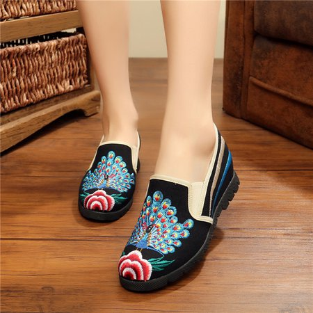 Flower Peacock Embroidered Canvas Loafers