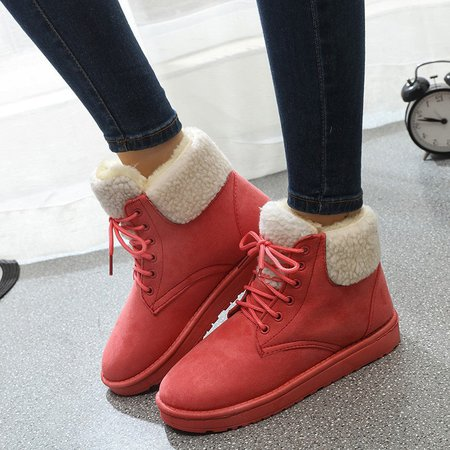 Non-slip Furry Winter Casual Lace-up Boots