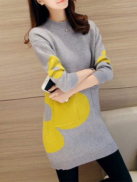 H-line Long Sleeve Knitted Casual Pockets Sweater Dress